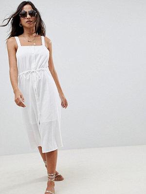 ASOS DESIGN button through tie waist dungaree casual midi sundress