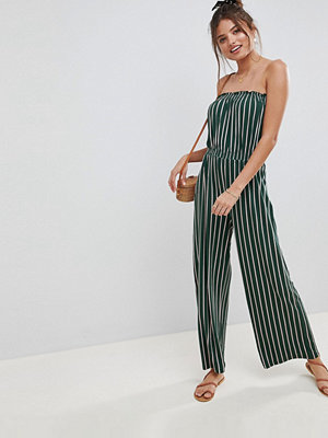 ASOS DESIGN bandeau jersey jumpsuit with wide leg in vertical stripe - Green/pink stripe