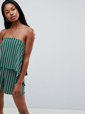 ASOS DESIGN bandeau playsuit in slub jersey and stripe print - Green/pink