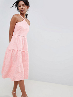 ASOS DESIGN tiered lace prom dress - Rose