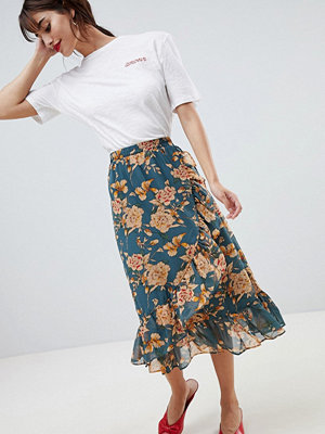 Vila floral midi skirt with ruffle hem - Grisaille