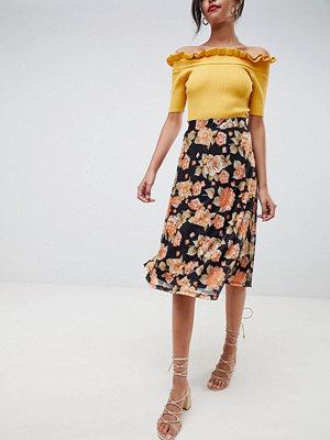 Vila floral midi skirt - Black