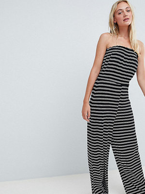 Asos Tall ASOS DESIGN Tall bandeau jersey jumpsuit with wide leg in stripe print - Mono