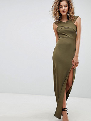 Ax Paris Bardot Maxi Dress With Side Split - Khaki