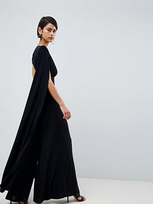 Club L Power Shoulder Cape Sleeves Detailed Slinky Wide Leg Jumpsuit
