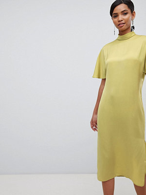 ASOS DESIGN high neck matte satin midi dress - Chartreuse