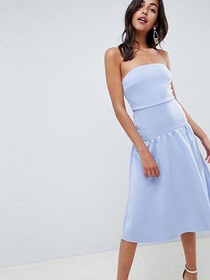 ASOS DESIGN bandeau drop waist midi dress - Blue