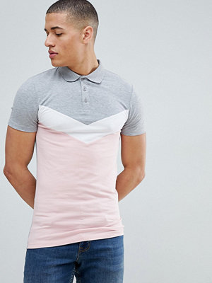 ASOS DESIGN muscle polo shirt with chevron cut and sew panel in grey - Grey marl/pink