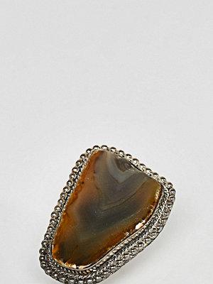 Sacred Hawk statement semi-precious stone ring