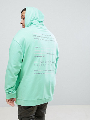 Street & luvtröjor - Puma PLUS Organic Cotton Hoodie With Back Print In Green