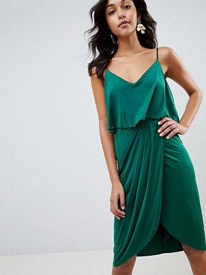 ASOS DESIGN slinky wrap midi dress