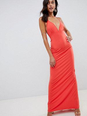 ASOS DESIGN super cut out slinky maxi dress - Coral