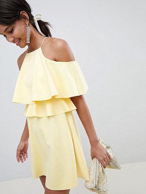 ASOS DESIGN high neck cold shoulder skater mini dress - Lemon