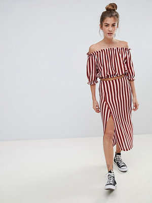 Pull&Bear stripe midi skirt with matching top