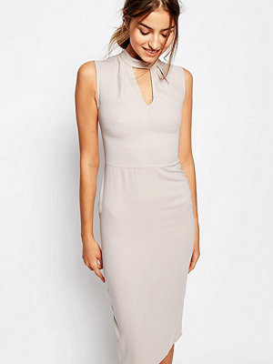 Alter Tall Sleeveless Pencil Dress With Keyhole And High Neck Detail - Oyster