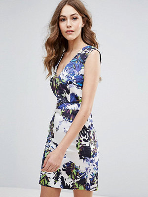 French Connection Kiki Palm Printed Bodycon Dress - Brule multi