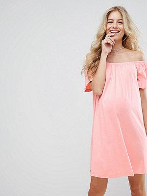 ASOS Maternity Off Shoulder Mini Dress - Nude