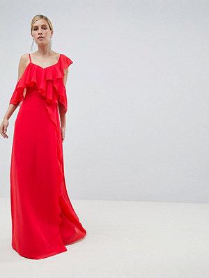 ASOS DESIGN Wrap Maxi Dress With Ruffles