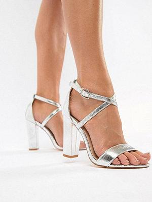 Glamorous Silver Metallic Cross Strap Block Heel Sandals