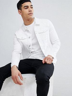Jeansjackor - River Island Muscle Fit Denim Jacket In White Wash