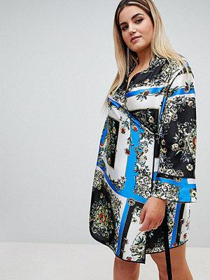 ASOS Curve ASOS DESIGN Curve scarf print wrap dress with piping