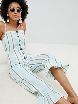 ASOS DESIGN cotton frill hem jumpsuit with square neck and button detail in variated stripe - Varied stri