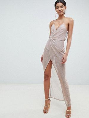 ASOS DESIGN Metallic Drape Maxi Dress - Rose gold