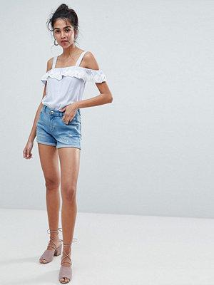 Oasis Uppvikta jeansshorts med rivdetalj Mellanljus tvätt