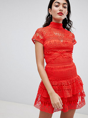 PrettyLittleThing High Neck Lace Tiered Dress
