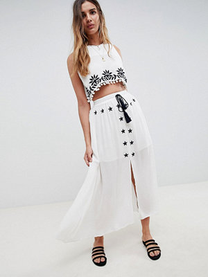 Glamorous Embroidered Skirt With Tassle Ties Co-Ord