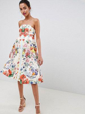 ASOS DESIGN bandeau floral midi trapeze prom dress