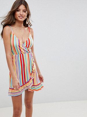ASOS DESIGN wrap mini sundress with frill detail in bright stripe - Multi stripe
