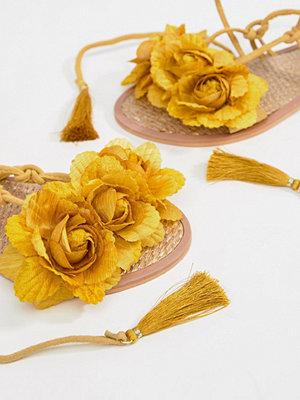 River Island Leather Flower Tassel Tie Up Sandals