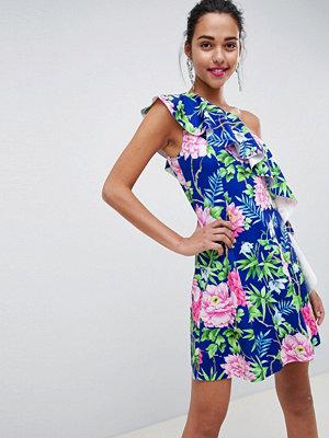 ASOS DESIGN floral one shoulder a-line mini dress