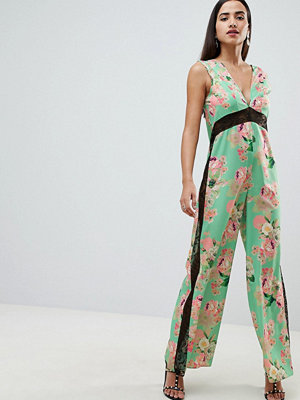ASOS DESIGN jumpsuit with lace detail in soft floral print