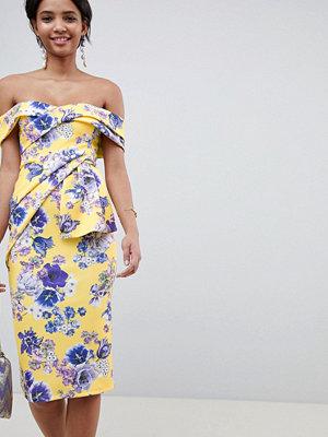 ASOS DESIGN bardot fold wrap front midi dress in print - Yellow floral