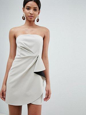 ASOS DESIGN bonded bandeau origami front mini dress - Stone