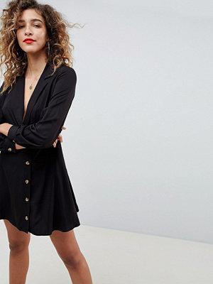 ASOS DESIGN button through wrap mini dress