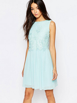 Club L Skater Dress With Eyelash Lace Overlay - Mint