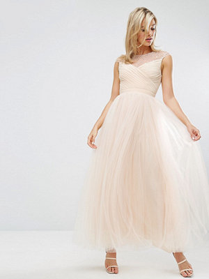 Little Mistress Tulle Maxi Dress With Diamante Trim - Nude