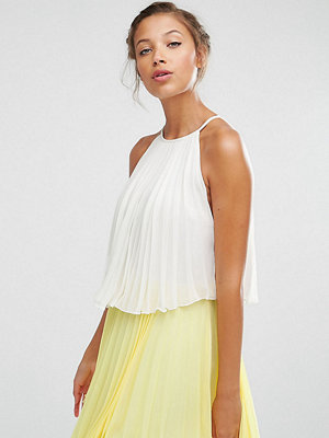 Asos Tall Tiered Colourblock Pleated Mini Dress - White/yellow