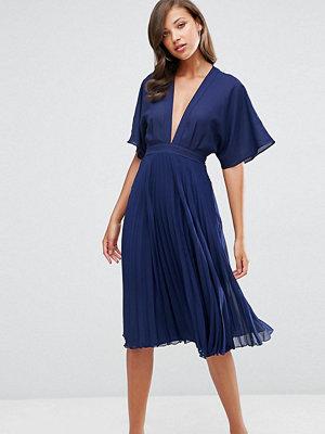 Asos Tall Kimono Sleeve Pleated Midi Dress - Navy