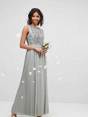 Maya Pleated Maxi Dress With Embellished Bodice - Sage