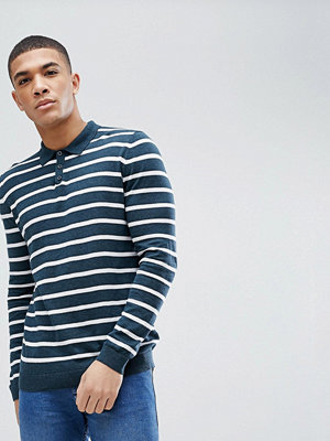ASOS Knitted Striped Polo In Dark Teal