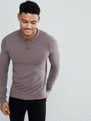 ASOS Muscle Fit Knitted Polo in Light Khaki - Slate stone