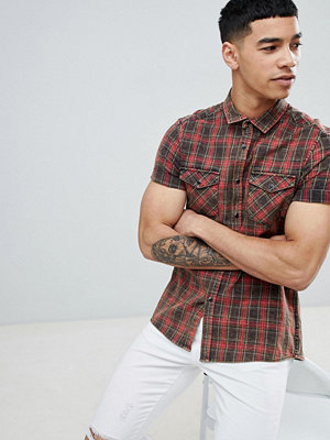 ASOS DESIGN Strech Slim Western Check Shirt With Acid Wash - Burgundy
