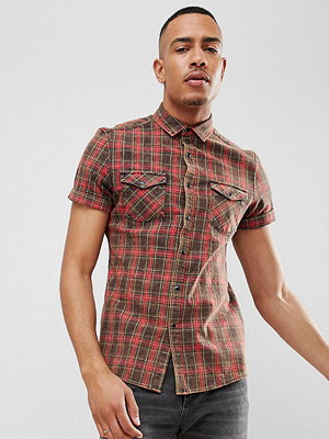 ASOS DESIGN Tall Stretch Slim Western Check Shirt With Acid Wash - Burgundy
