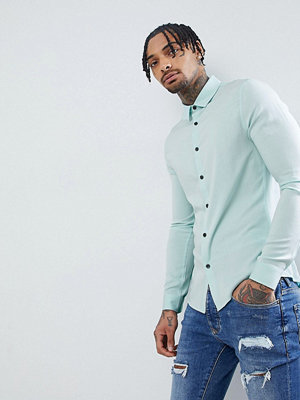 ASOS DESIGN Skinny Viscose Shirt In Pale Blue