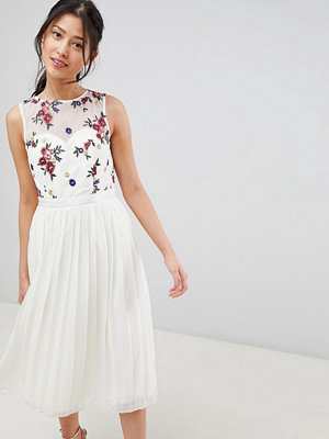 Little Mistress Midi Dress With Embroidery Detail
