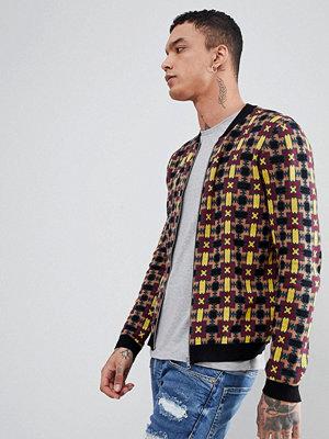 Bomberjackor - ASOS DESIGN Knitted Bomber Jacket With Geometric Design